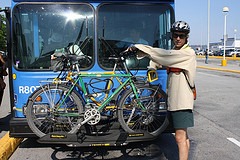 Vancouver bicyclist loading bikes on bus