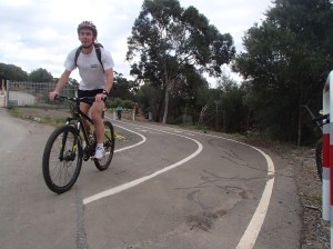 WCC Councillor Andy Foster checks out a Mitcham commuting trail