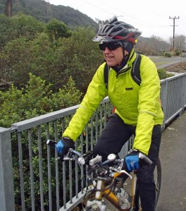 Author Dr Russell Tregonning takes a self administered dose of cycling