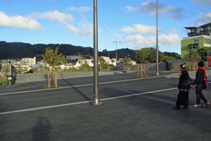 Cyclist and pedestrian view across Tasman/Tory Street