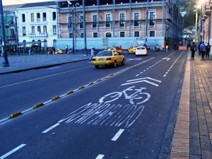 Strong encouragement for Quito cyclists to take the lane