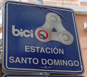 Sign for BiciQuito public bike scheme