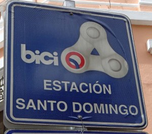 Sign for BiciQuito public bike scheme