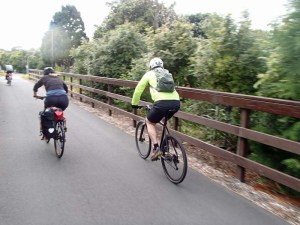 Commuters speed along the Northwestern Cycle Route
