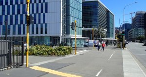Crossing the wide BNZ carpark entrance - will these visitors make it before their cruise ship departs?