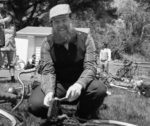 Alex checks out a 1950s BSA bike