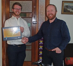 Derrick Lachlan of Aurecon accepts the Bike friendly workplace award