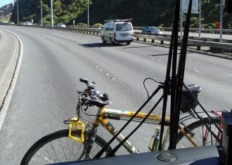 Bike on bus rack to Newlands