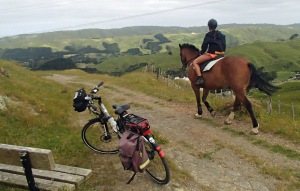 Old coach road: eBike and horse rider