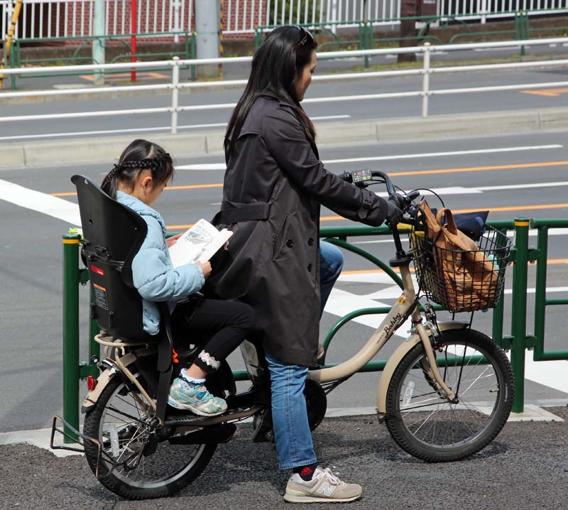 mother and child on eBike