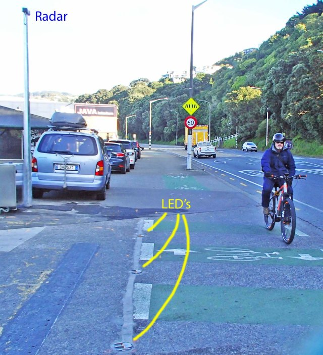 Fulton Hogan BikeScout warning system on Hutt Rd cyclepath