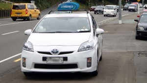 taxi parked in Hutt Rd Cycle Path
