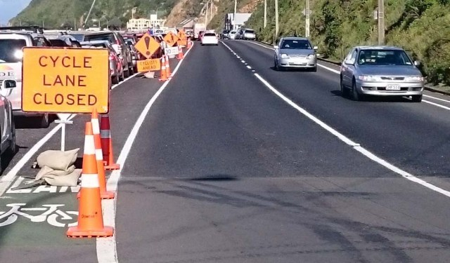 roadworks on Evans Bay parade