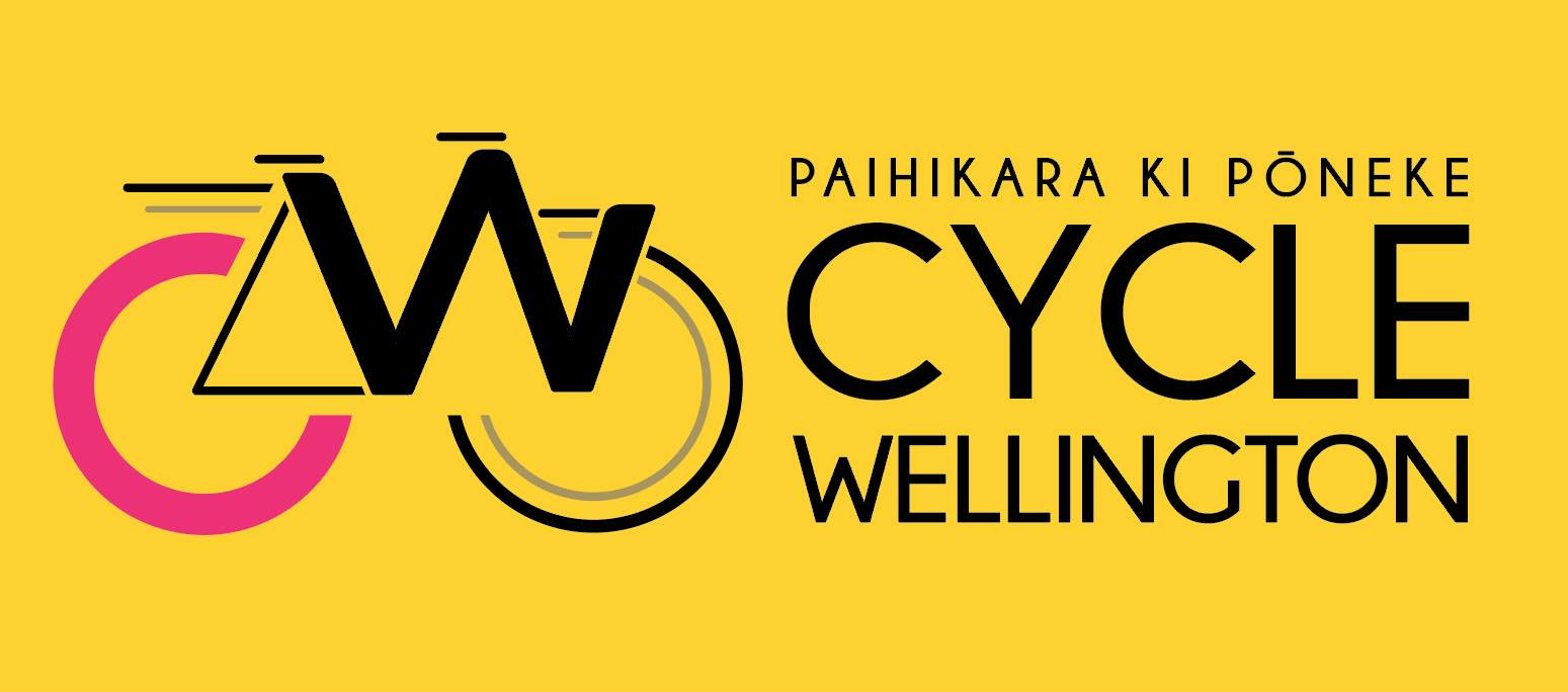 New Cycle Wellington logo - letters C and W in a bike design with label in English and te reo.